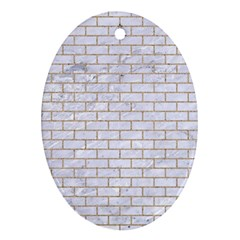 Brick1 White Marble & Sand (r) Oval Ornament (two Sides)