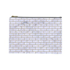 Brick1 White Marble & Sand (r) Cosmetic Bag (large)  by trendistuff