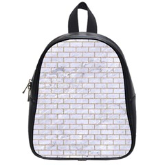 Brick1 White Marble & Sand (r) School Bag (small)
