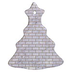 BRICK1 WHITE MARBLE & SAND (R) Christmas Tree Ornament (Two Sides) Back
