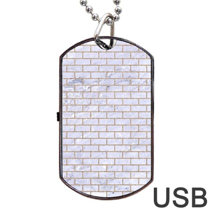 BRICK1 WHITE MARBLE & SAND (R) Dog Tag USB Flash (One Side)