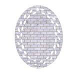 BRICK1 WHITE MARBLE & SAND (R) Oval Filigree Ornament (Two Sides) Back