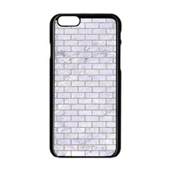 Brick1 White Marble & Sand (r) Apple Iphone 6/6s Black Enamel Case