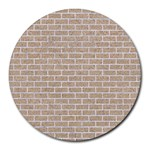 BRICK1 WHITE MARBLE & SAND Round Mousepads Front