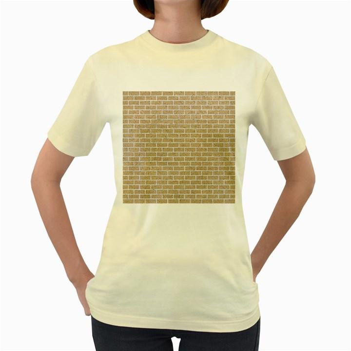 BRICK1 WHITE MARBLE & SAND Women s Yellow T-Shirt