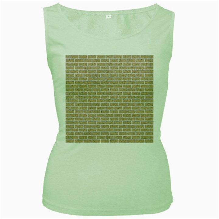 BRICK1 WHITE MARBLE & SAND Women s Green Tank Top