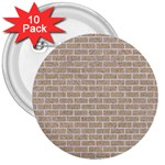BRICK1 WHITE MARBLE & SAND 3  Buttons (10 pack)  Front