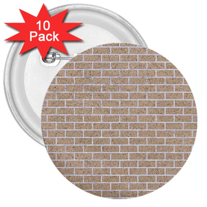 BRICK1 WHITE MARBLE & SAND 3  Buttons (10 pack)