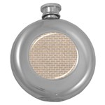 BRICK1 WHITE MARBLE & SAND Round Hip Flask (5 oz) Front