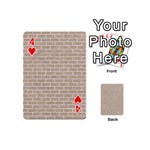 BRICK1 WHITE MARBLE & SAND Playing Cards 54 (Mini)  Front - Heart4