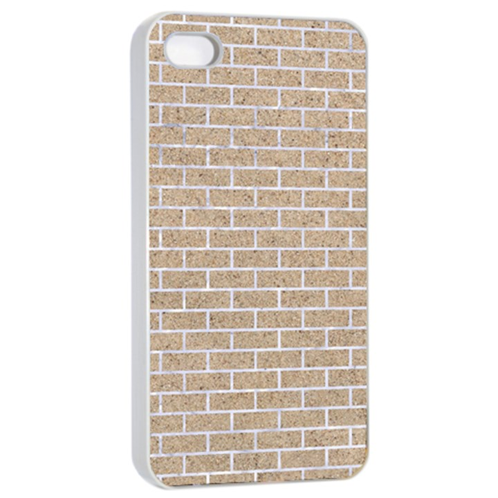 BRICK1 WHITE MARBLE & SAND Apple iPhone 4/4s Seamless Case (White)
