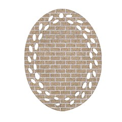 Brick1 White Marble & Sand Oval Filigree Ornament (two Sides)