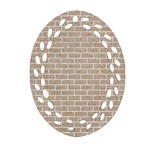 BRICK1 WHITE MARBLE & SAND Oval Filigree Ornament (Two Sides) Front