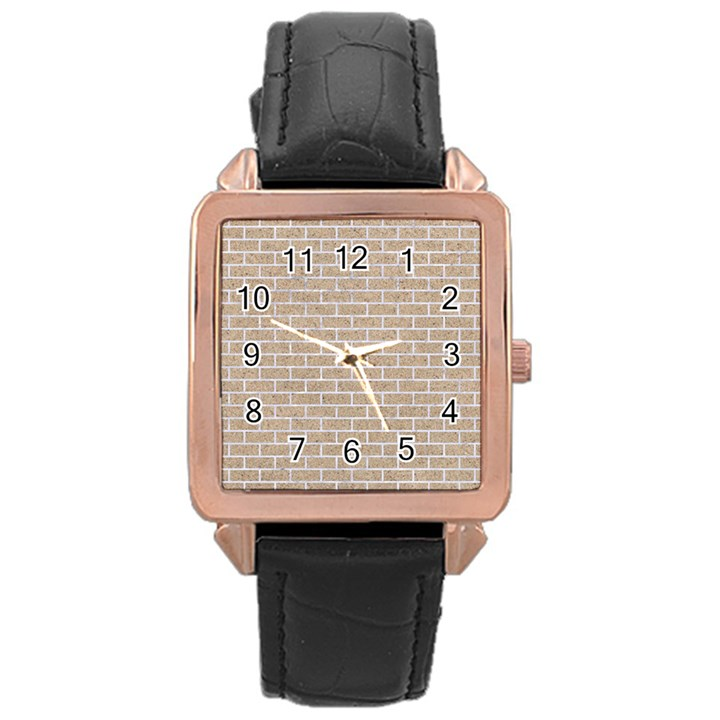 BRICK1 WHITE MARBLE & SAND Rose Gold Leather Watch