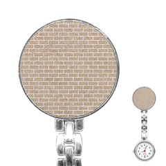 Brick1 White Marble & Sand Stainless Steel Nurses Watch