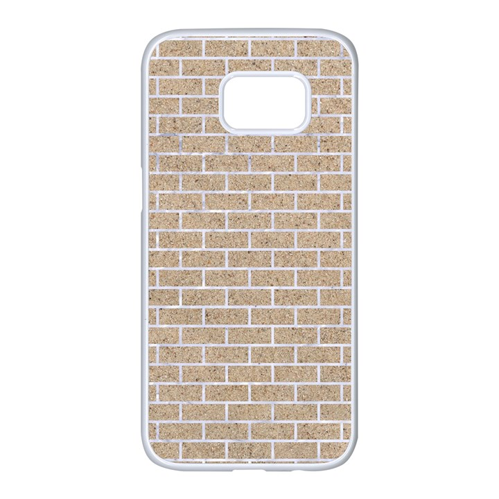 BRICK1 WHITE MARBLE & SAND Samsung Galaxy S7 edge White Seamless Case