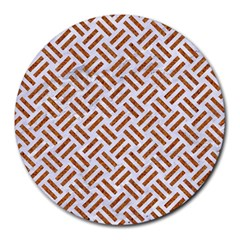 Woven2 White Marble & Rusted Metal (r) Round Mousepads