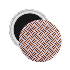 WOVEN2 WHITE MARBLE & RUSTED METAL (R) 2.25  Magnets