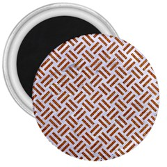 Woven2 White Marble & Rusted Metal (r) 3  Magnets by trendistuff