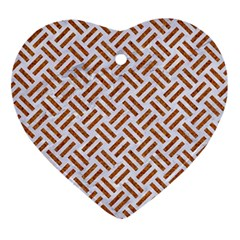 WOVEN2 WHITE MARBLE & RUSTED METAL (R) Ornament (Heart)