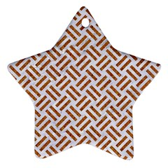 WOVEN2 WHITE MARBLE & RUSTED METAL (R) Ornament (Star)