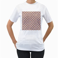 WOVEN2 WHITE MARBLE & RUSTED METAL (R) Women s T-Shirt (White) (Two Sided)