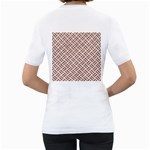 WOVEN2 WHITE MARBLE & RUSTED METAL (R) Women s T-Shirt (White) (Two Sided) Back