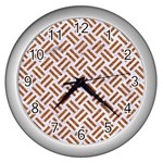 WOVEN2 WHITE MARBLE & RUSTED METAL (R) Wall Clocks (Silver)  Front