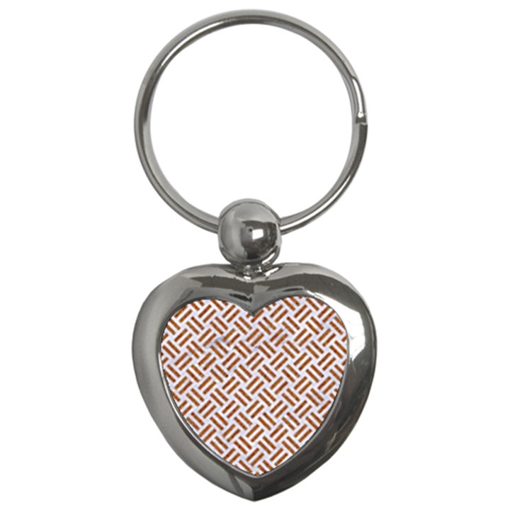 WOVEN2 WHITE MARBLE & RUSTED METAL (R) Key Chains (Heart)