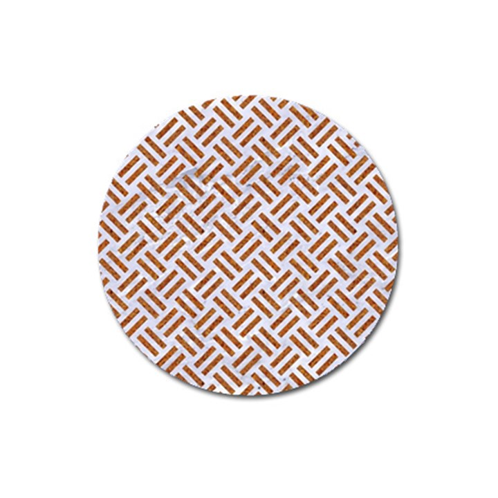 WOVEN2 WHITE MARBLE & RUSTED METAL (R) Magnet 3  (Round)
