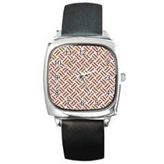 WOVEN2 WHITE MARBLE & RUSTED METAL (R) Square Metal Watch