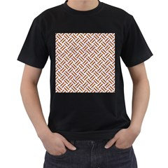 WOVEN2 WHITE MARBLE & RUSTED METAL (R) Men s T-Shirt (Black) (Two Sided)
