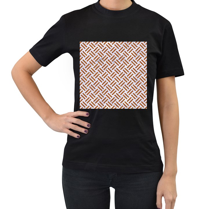 WOVEN2 WHITE MARBLE & RUSTED METAL (R) Women s T-Shirt (Black) (Two Sided)