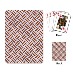 Woven2 White Marble & Rusted Metal (r) Playing Card by trendistuff