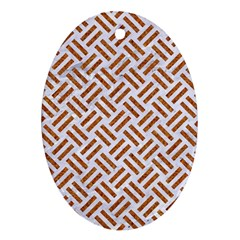 WOVEN2 WHITE MARBLE & RUSTED METAL (R) Oval Ornament (Two Sides)