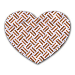 WOVEN2 WHITE MARBLE & RUSTED METAL (R) Heart Mousepads