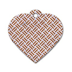 WOVEN2 WHITE MARBLE & RUSTED METAL (R) Dog Tag Heart (Two Sides)