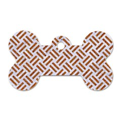 WOVEN2 WHITE MARBLE & RUSTED METAL (R) Dog Tag Bone (One Side)