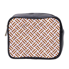 Woven2 White Marble & Rusted Metal (r) Mini Toiletries Bag 2 Side