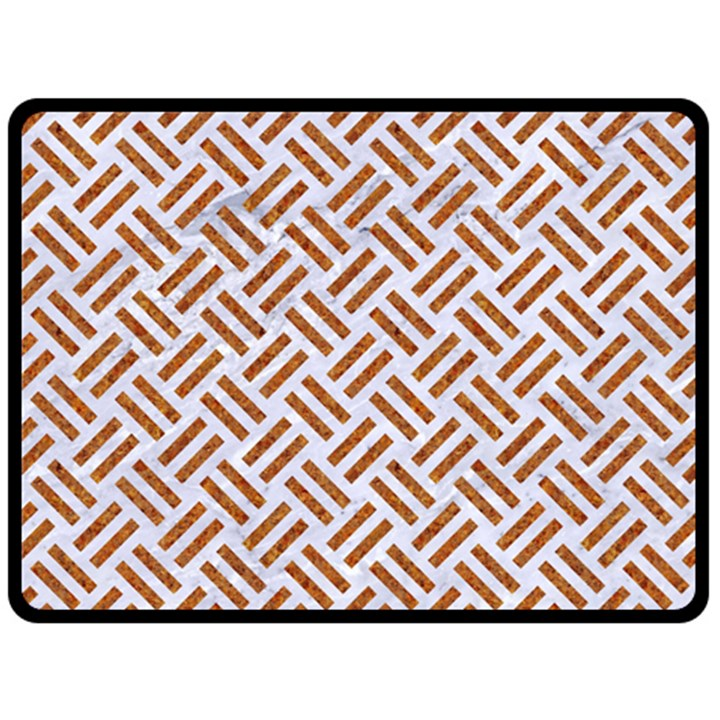 WOVEN2 WHITE MARBLE & RUSTED METAL (R) Fleece Blanket (Large)