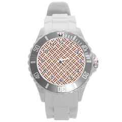 WOVEN2 WHITE MARBLE & RUSTED METAL (R) Round Plastic Sport Watch (L)