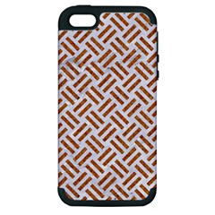 Woven2 White Marble & Rusted Metal (r) Apple Iphone 5 Hardshell Case (pc+silicone) by trendistuff