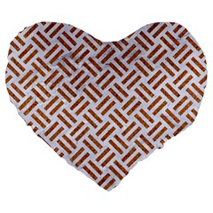 Woven2 White Marble & Rusted Metal (r) Large 19  Premium Heart Shape Cushions