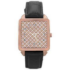 WOVEN2 WHITE MARBLE & RUSTED METAL (R) Rose Gold Leather Watch