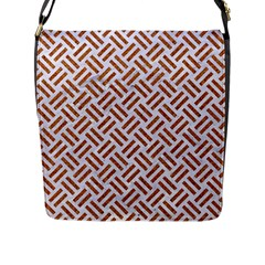 WOVEN2 WHITE MARBLE & RUSTED METAL (R) Flap Messenger Bag (L)