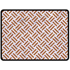 Woven2 White Marble & Rusted Metal (r) Double Sided Fleece Blanket (large)