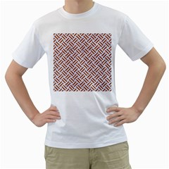 Woven2 White Marble & Rusted Metal (r) Men s T Shirt (white)