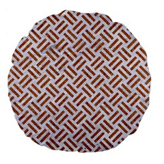 WOVEN2 WHITE MARBLE & RUSTED METAL (R) Large 18  Premium Flano Round Cushions