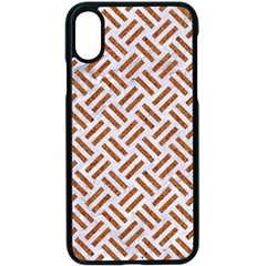 WOVEN2 WHITE MARBLE & RUSTED METAL (R) Apple iPhone X Seamless Case (Black)