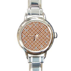 Woven2 White Marble & Rusted Metal Round Italian Charm Watch
